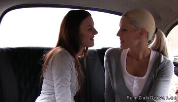 Beautiful blonde with nice big boobs fucked in the taxi